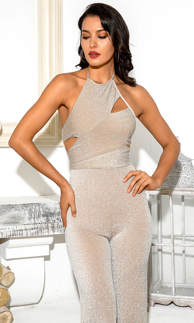 Pure Pleasure Beige Glitter Sparkle Sleeveless Spaghetti Strap Tie Neck Halter Cut Out Wide Leg Jumpsuit