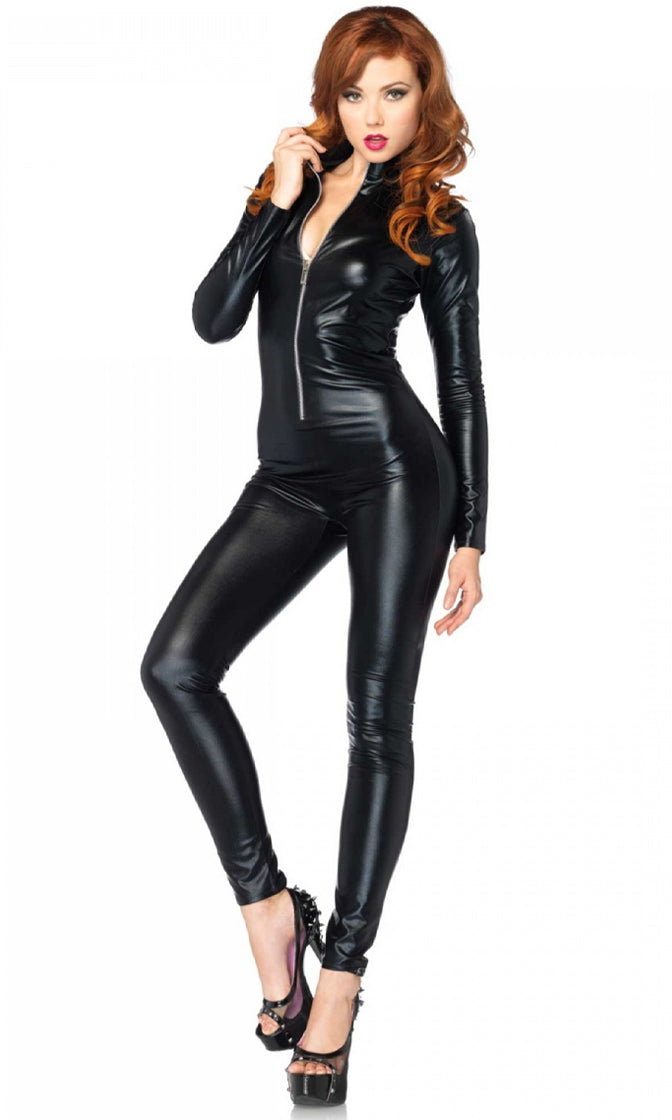 Flirting With Everyone Black PU Long Sleeve Zip Front Skinny Bodycon Jumpsuit