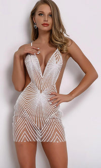 In The Moonlight Geometric Glitter Pattern Sheer Mesh Sleeveless Spaghetti Strap Backless V Neck Bodycon Mini Dress - 2 Colors Available