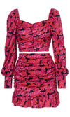 Rushing By Pink Floral Pattern Long Lantern Sleeve Ruched Crop Top Ruffle Bodycon Two Piece Mini Dress