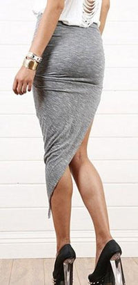 Light Grey Twisted Ruched Asymmetrical Skirt High Low Mini Stretchy Rocker Maxi Hot - Sold Out