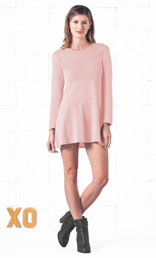 Indie XO Keeping it Casual Light Pink O-Neck Long Sleeve Skater Circle A Line Flared Tunic Mini Dress - Just Ours