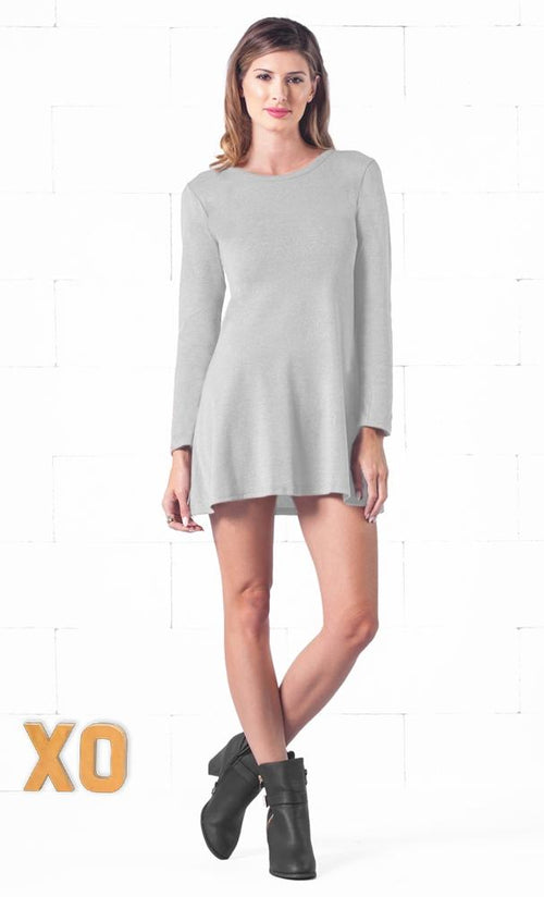 Indie XO Keeping it Casual Light Heather Grey O-Neck Long Sleeve Skater Circle A Line Flared Tunic Mini Dress - Just Ours