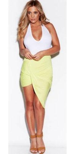 Citron Lime Ruched Twist Draped Asymmetric Stretch High Low Mini Maxi Skirt - Sold Out