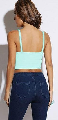 Sexy Mint Green Wrap Front Crop Bustier Spaghetti Strap Top Stretchy Crossover - Sold Out