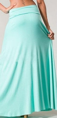 Mint Green Full Length Maxi Skirt Loose Flowy Basic Summer High Folded Waist - Sold Out