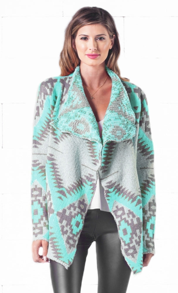 Indie XO Gone Glamping Mint Grey Tribal Navajo Aztec Southwestern Asymmetric Open Cardigan Sweater - Just Ours!