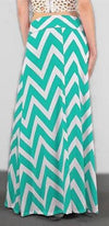 Mint Green Ivory Chevron Zig Zag Print High Waist Stretchy Long Maxi Skirt - Sold Out