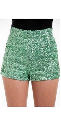 Night on the Town Sequin Mint Green High Waisted Booty Shorts Side Zipper - Sold Out
