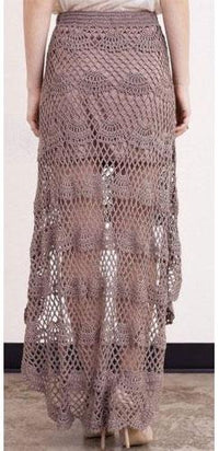 Mocha Brown Crochet Lace Asymmetric Hem Full Length Maxi Skirt Vintage Chic - Sold Out