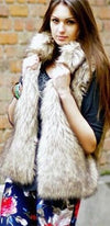 Mocha Brown Ivory Shaggy Faux Vegan Fur High Collar Sleeveless Open Front Vest - Sold Out