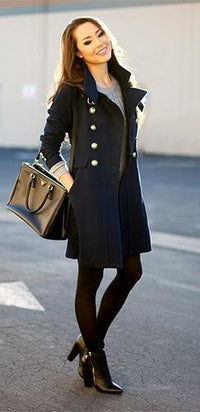 Navy Double Breasted Stand Collar Waistband Slim Wool Coat - Sold Out