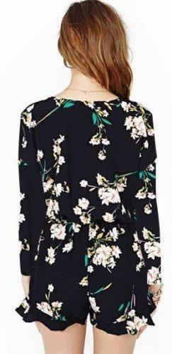 Navy Floral V Neck Wrap Front Long Sleeve Elastic Waist Ruffle Hem Romper - OUT OF STOCK - Sold Out