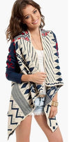 Red White Navy Blue Aztec Tribal Navajo Asymmetrical Open Drape Cardigan Mod -  Sold Out