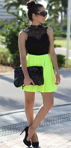 Neon Lime Green Scuba Skater Circle Pleated A Line Skirt by Honey Punch - Sold Out