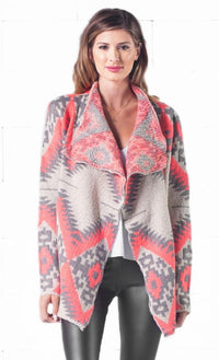 Indie XO Gone Glamping Neon Pink Grey Tribal Navajo Aztec Southwestern Asymmetric Open Cardigan Sweater - Just Ours!  -  Sold Out