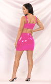 Hot Hot Hot PU Faux Leather Sleeveless Plunge V Neck Crop Top Buckle Belt Bodycon Two Piece Mini Dress