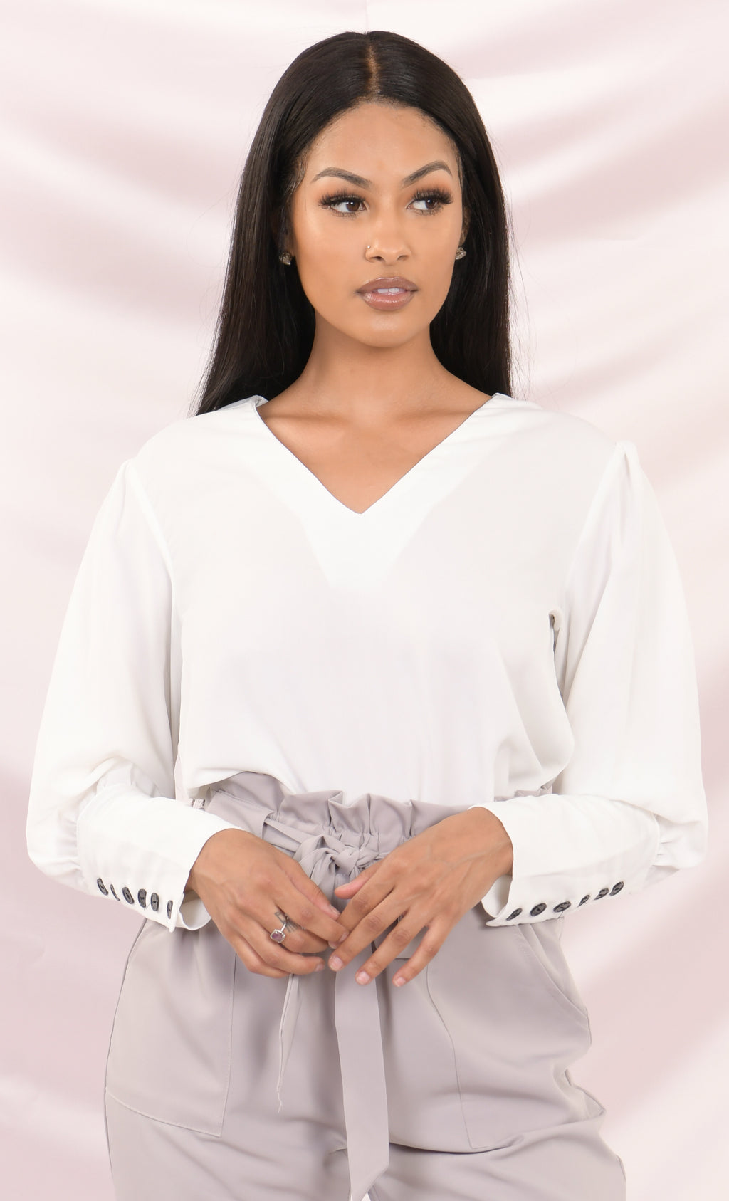What I Need White Semi Sheer Black Button Long Bishop Cuff Puff Sleeve V Neck Button Back Blouse Top