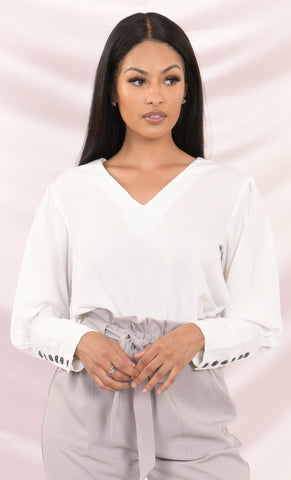 I'll Suffer For You Long Sleeve Ribbed V Neck Off The Shoulder Basic Bodysuit Top