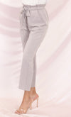 Urban Escape Baby Pink Tie Waist Loose Tapered Leg Pocket Trouser Pants
