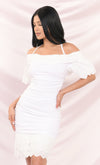 Lake Como Contrast Off White Lace Eyelet Short Sleeve Off The Shoulder V Neck Ruffle Midi Dress