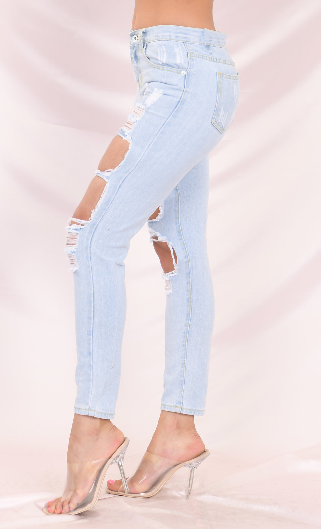 Rebel Soul Denim 5 Pocket Zip Button Destroyed Ripped Cropped Ankle Mid Rise Jeans Pants