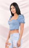 Fresh Meadows Medium Blue Denim Short Sleeve Puff Shoulder Ruffle Bustier Zip Back Crop Top