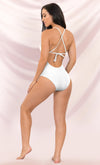 Under The Sun Yellow Crochet Spaghetti Strap Plunge V Neck Cut Out High Leg One Piece Swimsuit