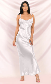 Acceptance Speech White Satin Loose Slip Sleeveless Spaghetti Strap Drape Cowl Neck Cut Out Back Maxi Dress