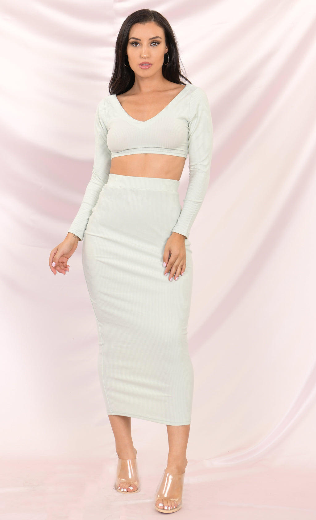 Lights, Camera, Action Mint Ribbed Long Sleeve V Neck Crop Top Bodycon Two Piece Midi Dress - 2 Colors Available