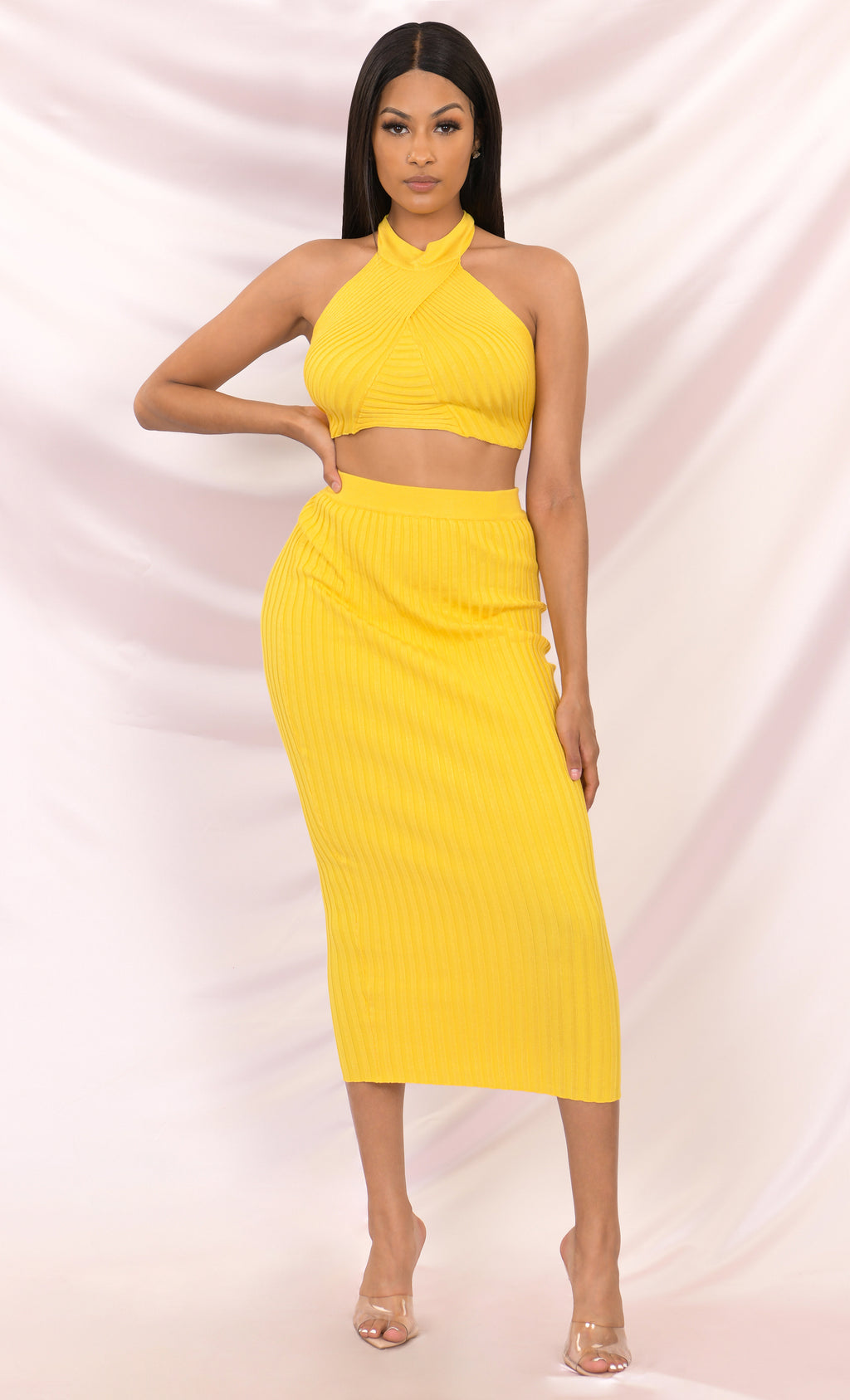 Run The Show Sleeveless Mock Neck Halter Backless Crop Top Ribbed Two Piece Bodycon Midi Dress