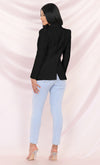 Have What You Want Black Long Sleeve Puff Shoulder V Neck Structured Pocket Blazer Jacket Outerwear
