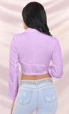 Riding My Coat Tails Purple Long Sleeve Plunge V Neck Hook And Eye Crop Top