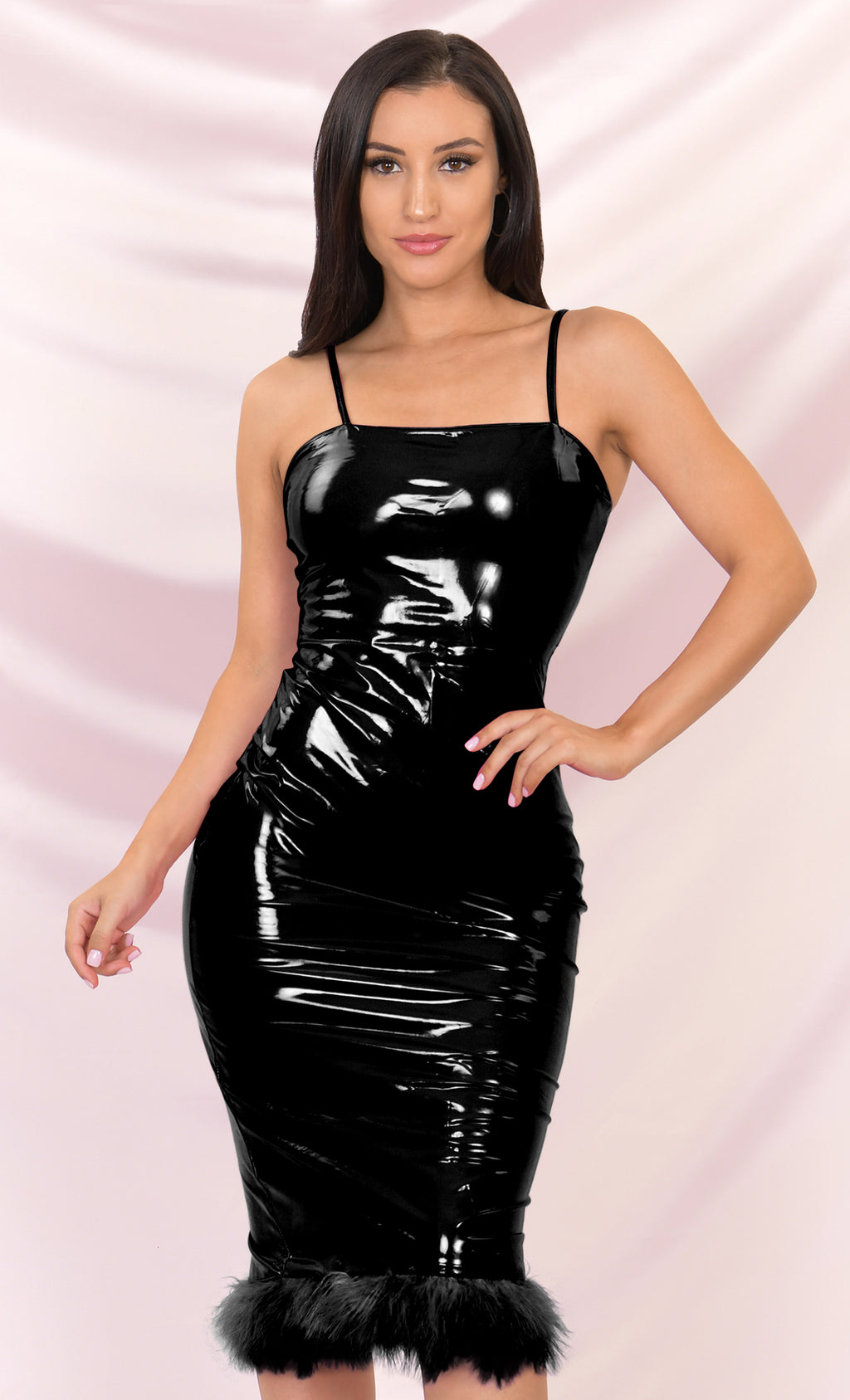 My World Black PU Sleeveless Spaghetti Strap Square Neck Knee Length Feather Hem Bodycon Midi Dress
