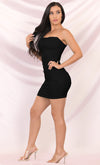 Time To Get Down Black Sleeveless Mesh Clear Spaghetti Strap Ruched Bodycon Mini Dress - 3 Colors Available