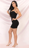 Let It Whip Black Sleeveless Spaghetti Strap Sweetheart Neckline Ruched Bodycon Mini Dress