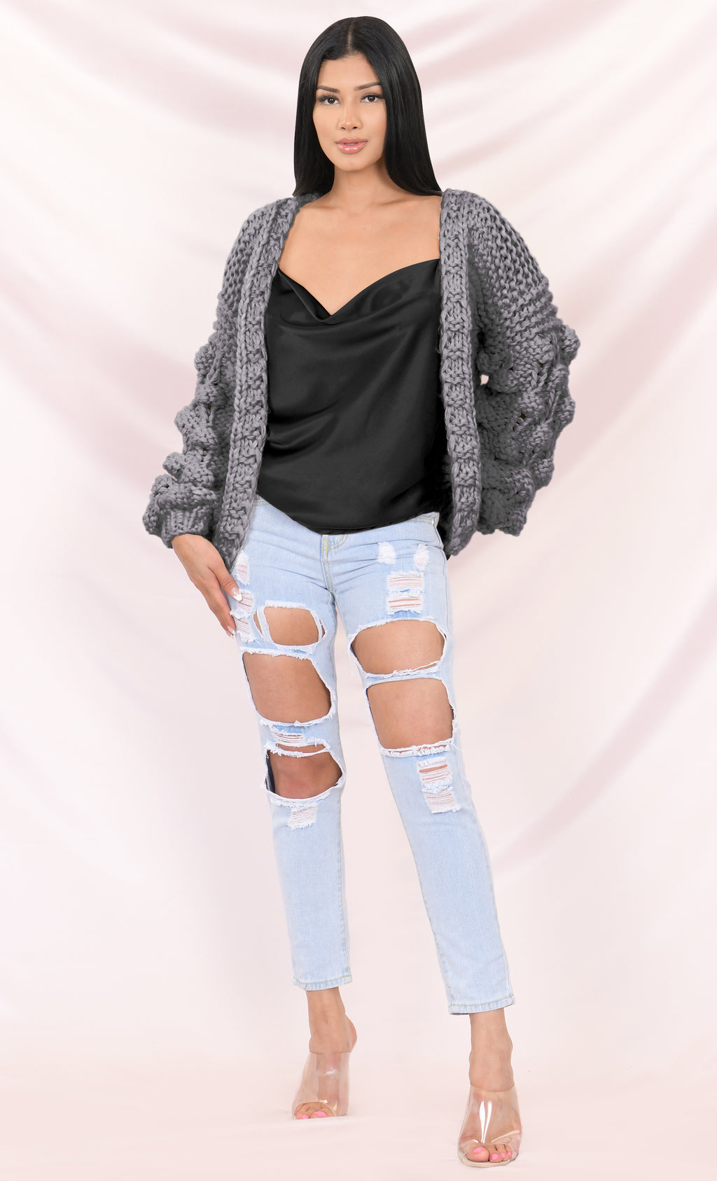 Desert Bound Gray Pom Pom Bubble Long Lantern Sleeve Chunky Knit Oversized Open Cardigan Outerwear Sweater