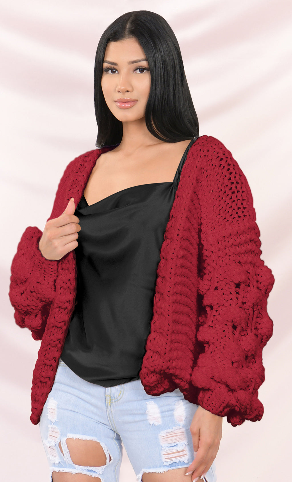 Desert Bound Red Long Sleeve Pom Pom Bubble Chunky Crochet Oversize Cardigan Knit Sweater