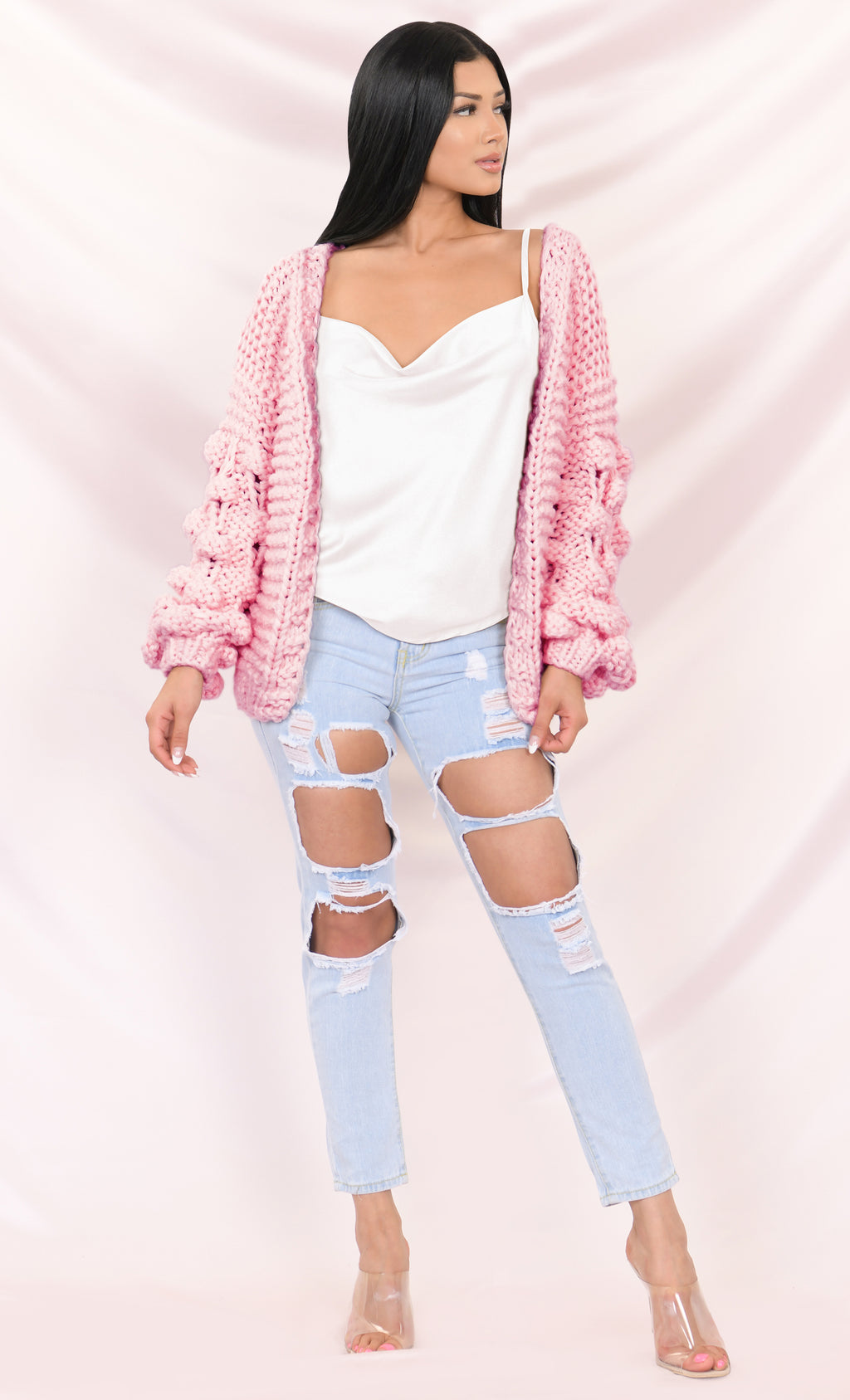 Desert Bound Pink Long Sleeve Bubble Chunky Crochet Oversize Cardigan Knit Pom Pom Sweater