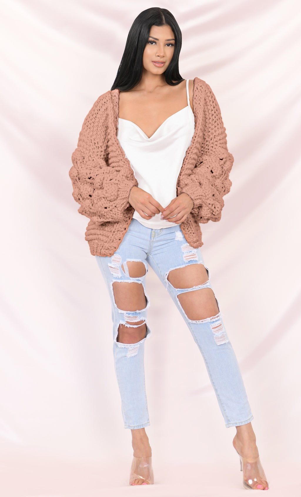 Desert Bound Dusty Pink Pom Pom Bubble Long Lantern Sleeve Chunky Knit Oversized Open Cardigan Outerwear Sweater
