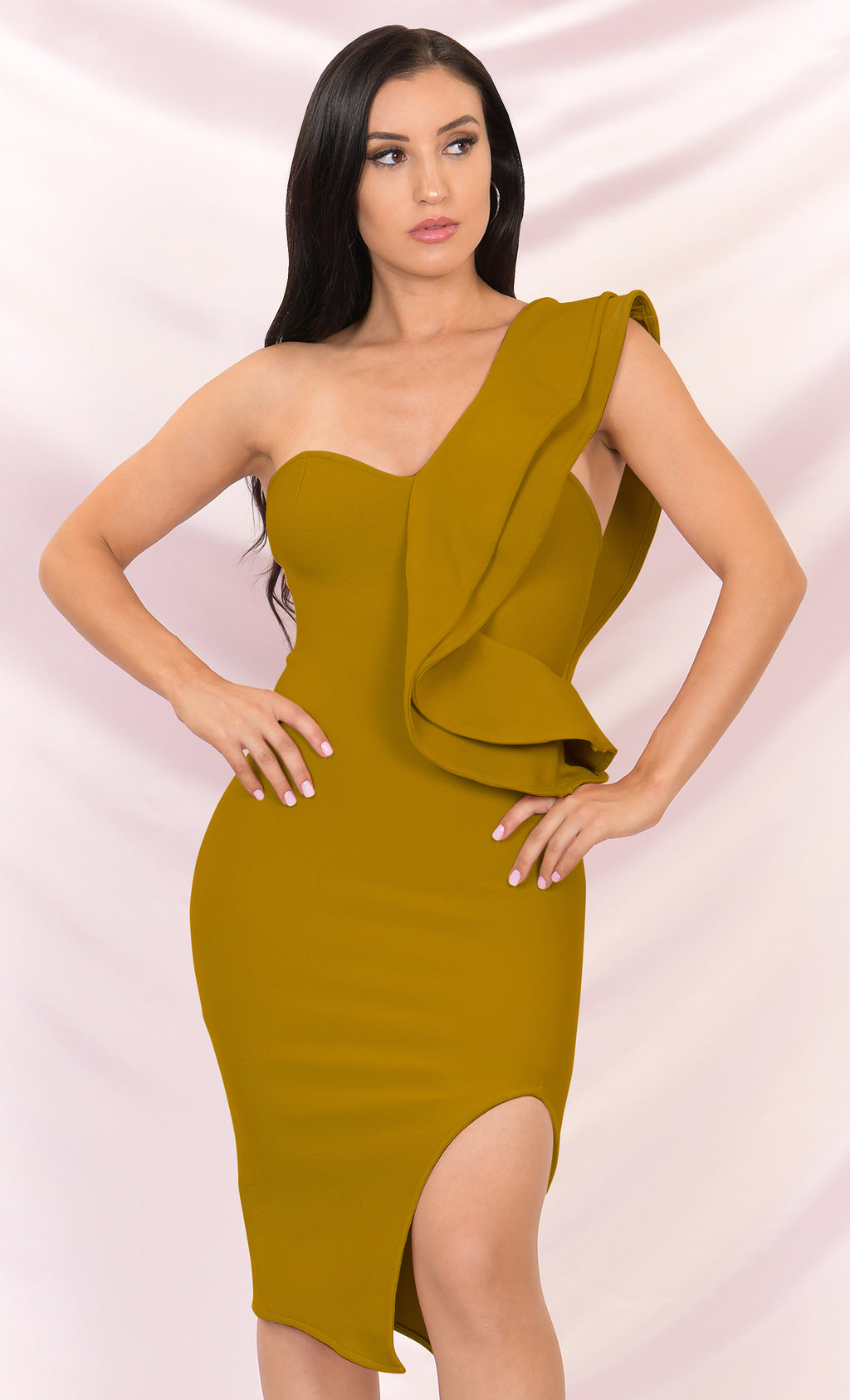 Prize Winner Mustard Sleeveless Bandage One Shoulder Ruffle Bodycon Side Slit Midi Dress