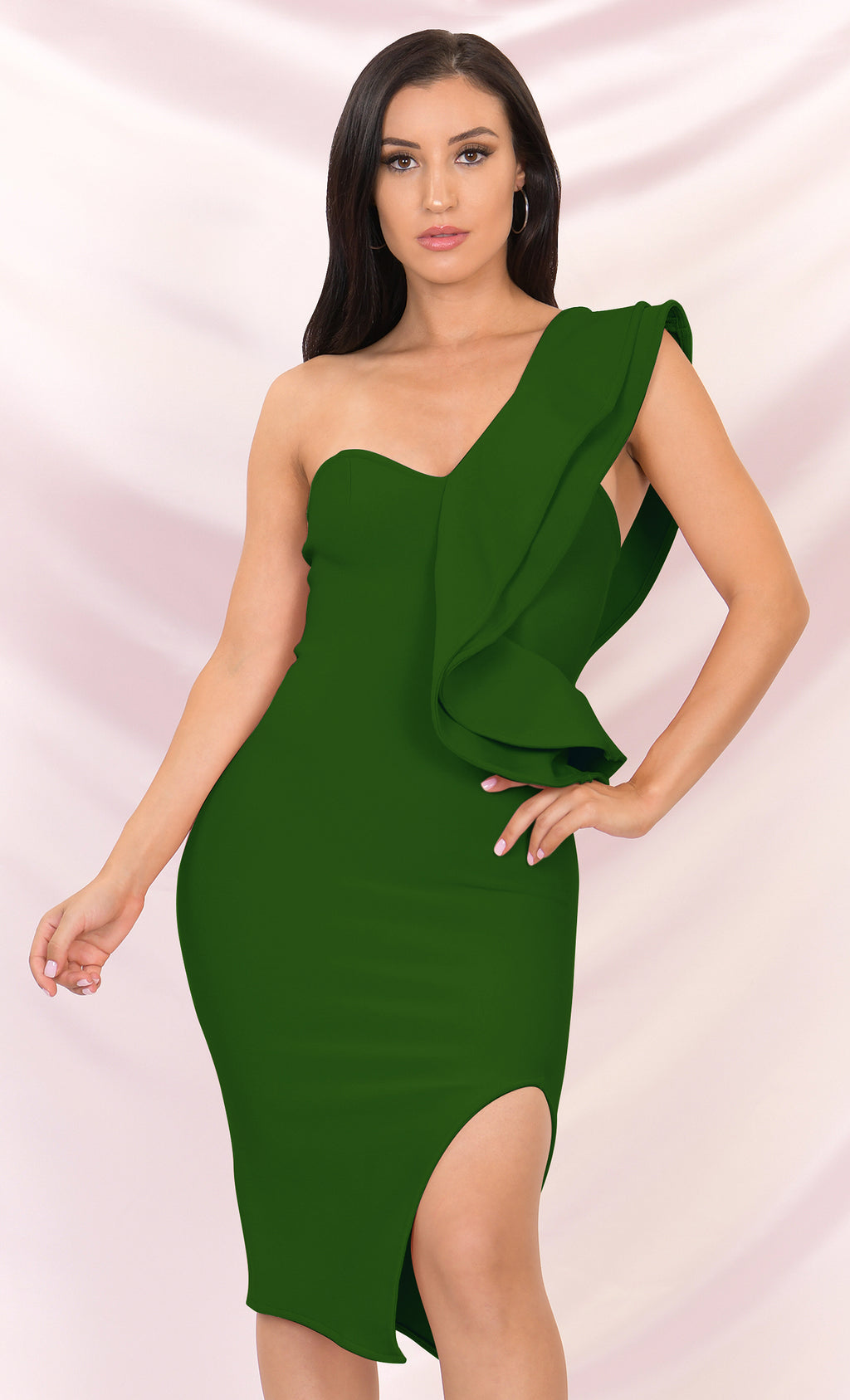 Prize Winner Forest Green Sleeveless Bandage One Shoulder Ruffle Bodycon Side Slit Midi Dress
