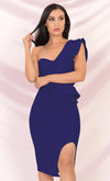 Insta Perfect Blue Long Sleeve Puff Shoulder Ruched Sweetheart Neck Cut Out Bodycon Mini Dress
