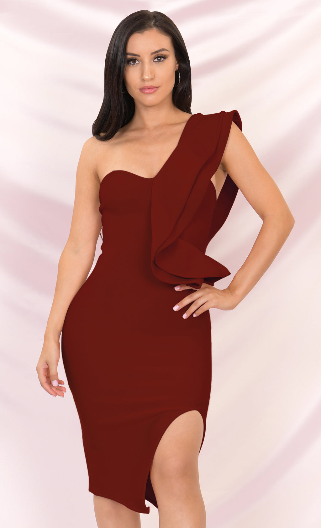 Prize Winner Burgundy Sleeveless Bandage One Shoulder Ruffle Bodycon Side Slit Midi Dress