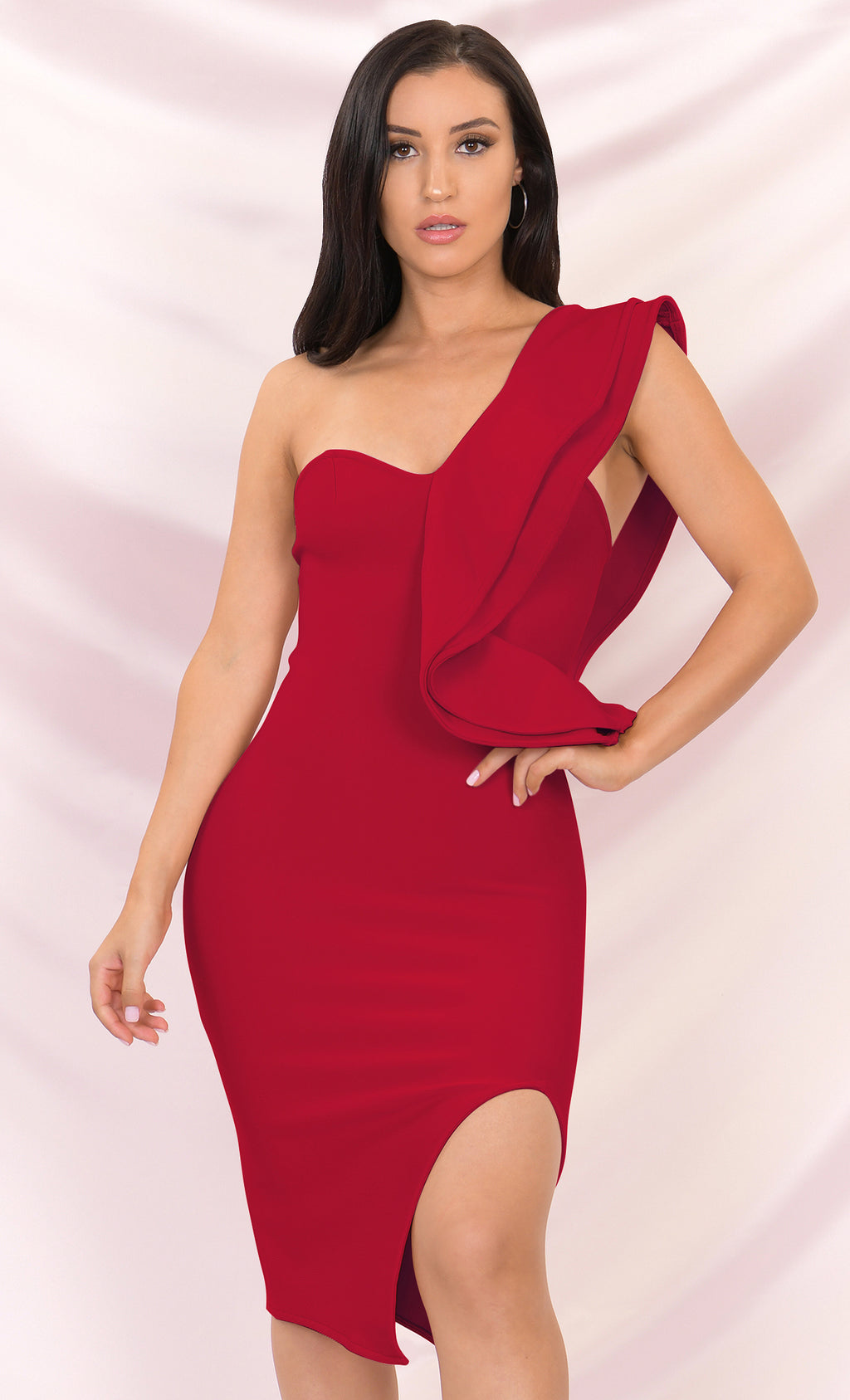 Prize Winner Red Sleeveless Bandage One Shoulder Ruffle Bodycon Side Slit Midi Dress