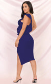Prize Winner Navy Blue Sleeveless Bandage One Shoulder Ruffle Bodycon Side Slit Midi Dress