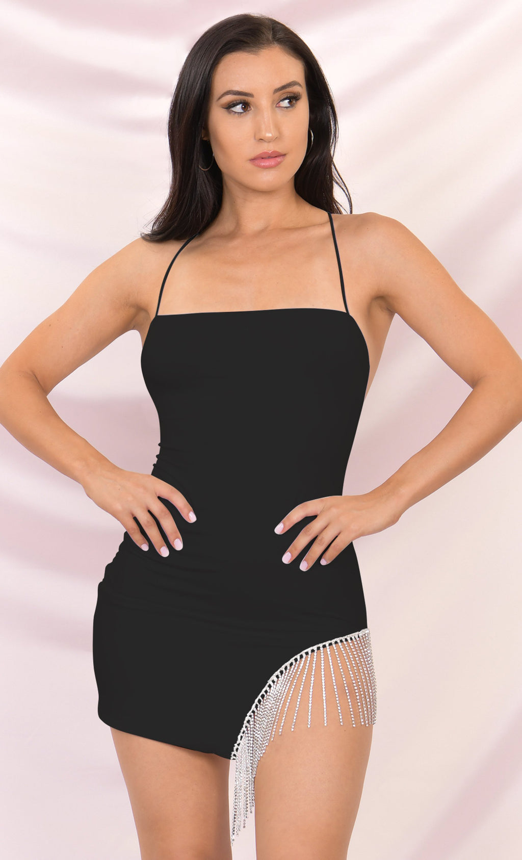 Born to Shine Black Sleeveless Spaghetti Strap Cross Back Rhinestone Fringe Cut Out Bodycon Mini Dress - 3 Colors Available