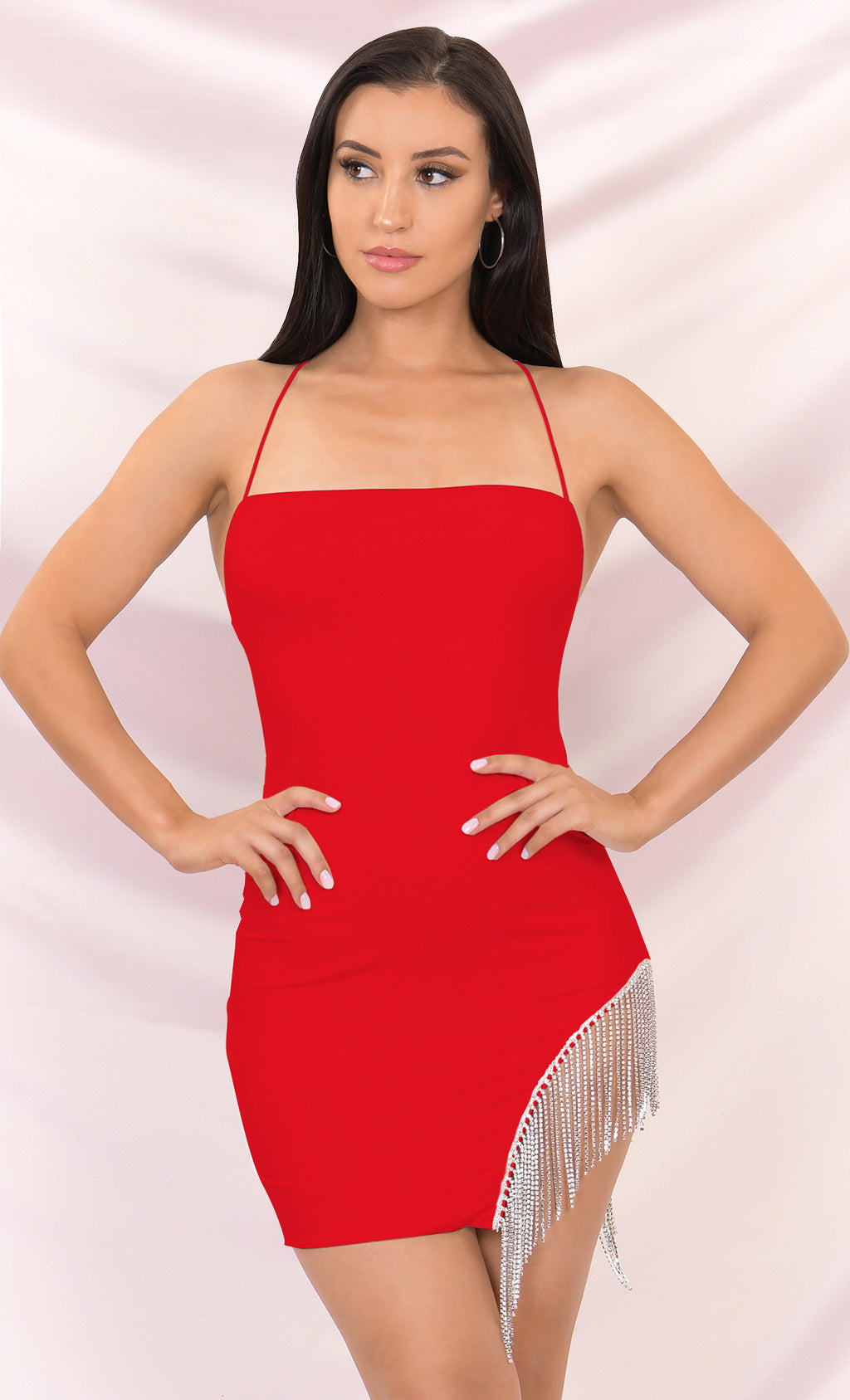 Born to Shine Red Sleeveless Spaghetti Strap Cross Back Rhinestone Fringe Cut Out Bodycon Mini Dress - 3 Colors Available