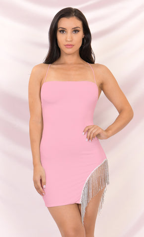 Sparkle Delight Satin Rhinestone Spaghetti Strap Sleeveless Fringe Feather Bodycon Mini Dress - 2 Colors Available