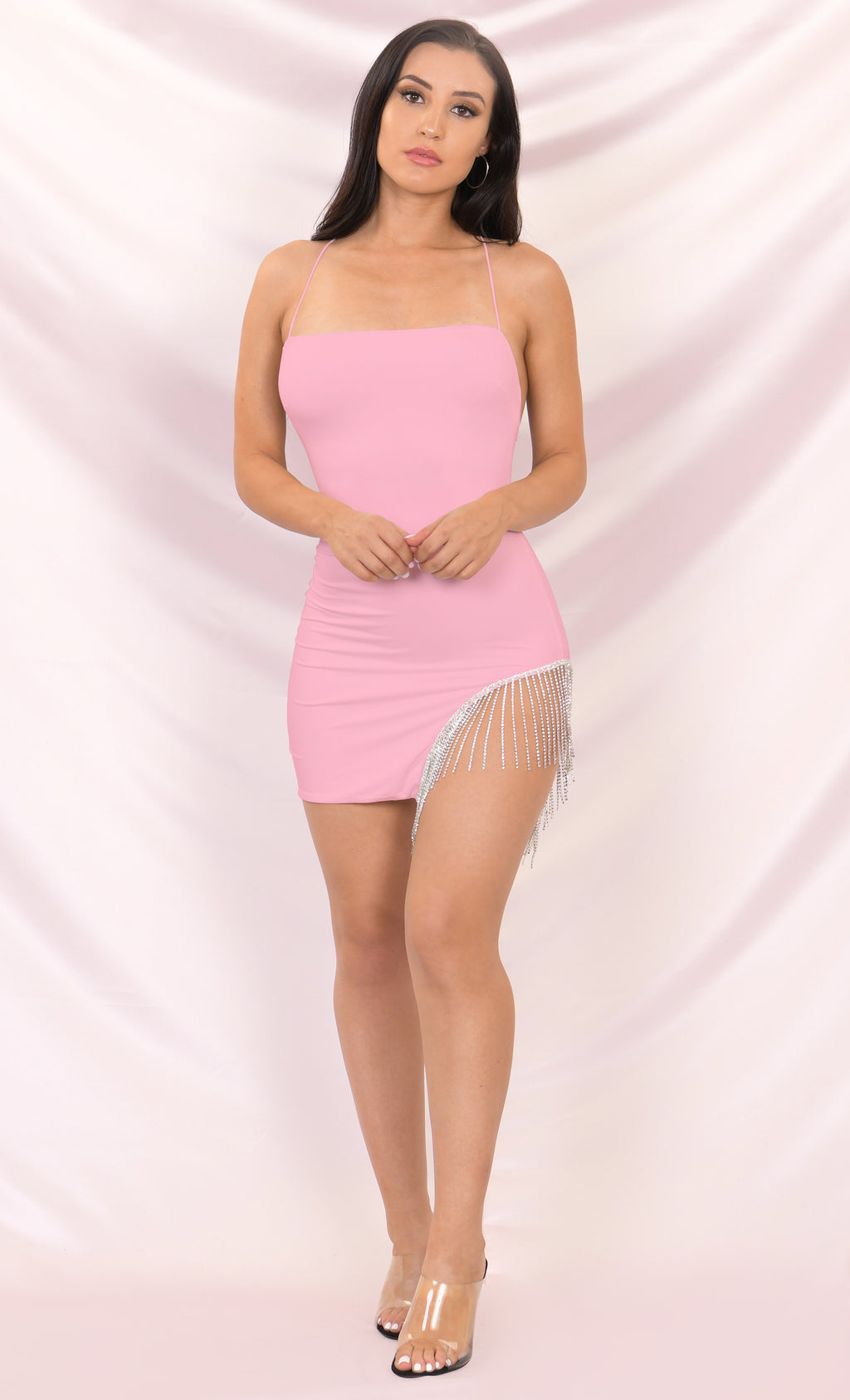 Born to Shine Pink Sleeveless Spaghetti Strap Cross Back Rhinestone Fringe Cut Out Bodycon Mini Dress - 3 Colors Available
